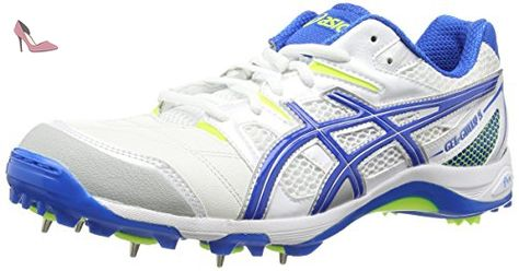 ASICS Gel-gully 5, Chaussures de Cricket homme - Blanc (white/electric Blue/flash Yellow 0139), 46 EU - Chaussures asics (*Partner-Link)