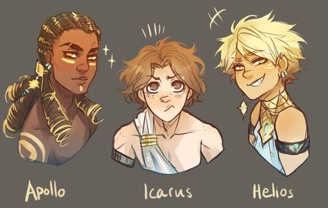 help, i've fallen for this trio…. [[MORE]]Apollo would probably be the incredibly multi-talented hottie able to do everything from elaborate musical pieces to heart-wrenching poetry, but don't let his cool looks fool you, he's a fucking nerd Icarus. Greek And Roman Mythology, Greek Gods And Goddesses, Religion, Percy Jackson Fandom, Character Design Inspiration, Story Inspiration, Story Ideas, Writing Inspiration, Pretty Art