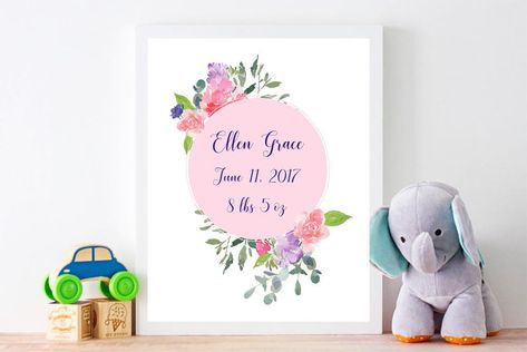 Baby girl custom birth instant download printable art nursery | Etsy