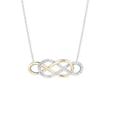 Double Infinity Yellow Gold Diamond Necklace 1/6ctw - Item 19401843 | REEDS Jewelers