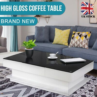 Black Glass Coffee Table White High Gloss Mdf With 2 Storage Drawers Living Room 149 99 White Living Room Tables Coffee Table White Black Living Room Table Black glass living room furniture