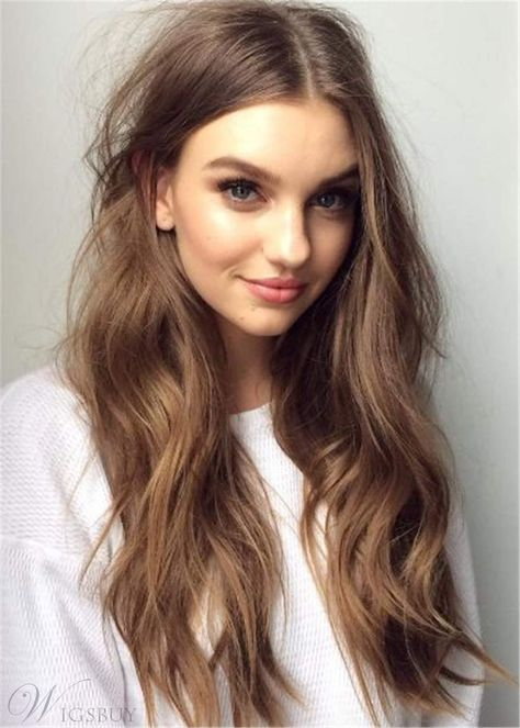 Long Loose Fluffy Human Hair Middle Parted Women Wig: M.Wigsbuy.com