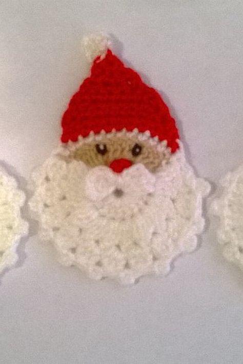 Set of 3 Crochet Santa Claus Christmas by SmileWorld2015 on Etsy