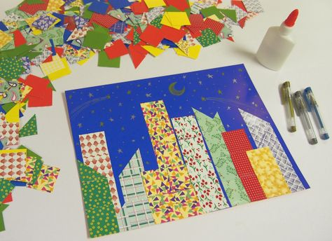 paper collage-Cute for teaching city vs.