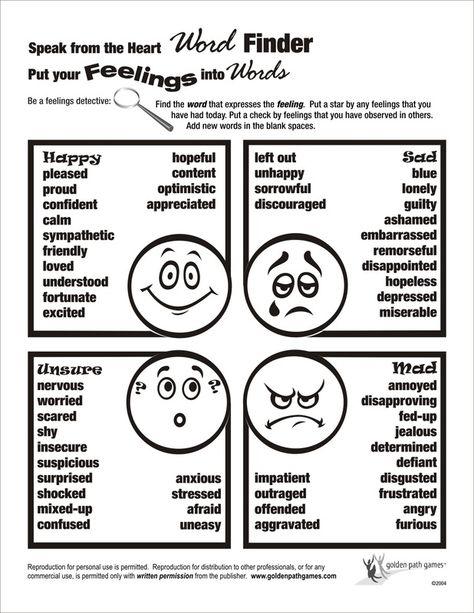 Feelings word finder flyer Parenting Pinterest Feelings - feeling chart