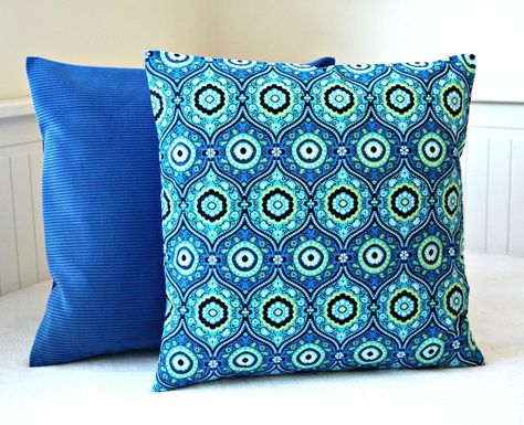 turquoise royal blue lime green decorative pillow cover, cushion cover ...