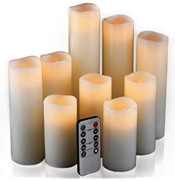 Flameless Candles Led Candles Set Of 9 H 4 5 6 7 8 9 Xd 2 2 Ivory Real Wax Battery Candles With Led Candle Set Candles In Fireplace Flameless Candles