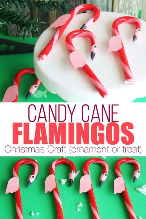 This cute DIY Flamingo Candy Cane Craft for Christmas is fun for a Hawaiian Christmas party or for our Alice in Winter Wonderland Christmas party theme | kid crafts | flamingo craft | candy cane treat | flamingo candy cane | edible flamingo treat | fun food ideas | edible craft | Christmas candy cane ornament | flamingo ornament #christmas #kidscrafts #flamingo #AlabamaRollTide  #ThingsToDoInAlabama  #AlabamaTravel  #AlabamaFashion