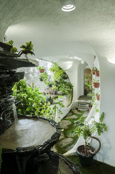 A verdant landscape breathes life into a one-bedroom apartment in a Suburb of Mumbai. Garden Room designed by India-based studio The White Room. Maison Earthship, Earthship Home, Earthship Design, Organic Architecture, Futuristic Architecture, Architecture Design, New York Penthouse, Mumbai, Earth Homes