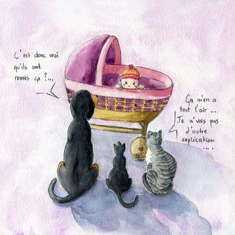 Illustration Faire Part Naissance Chats Berceau Deuxieme Enfant