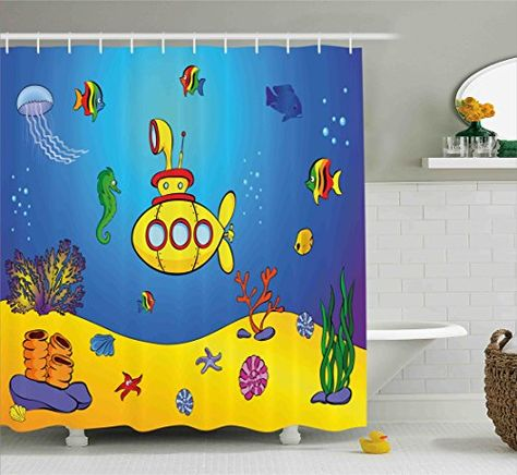 Yellow Submarine Shower Curtain Set By Ambesonne Nautica With Images Kids Shower Curtain Shower Curtain Sets Shower Curtain Sizes