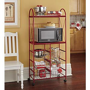 Wheeled Storage Microwave Stand From