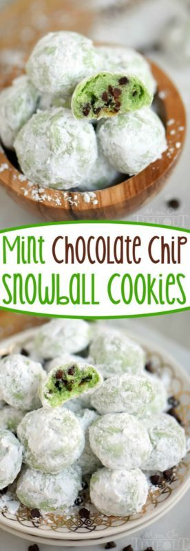 Mint Chocolate Chip Snowball Cookies The Easiest Cookie Ever And