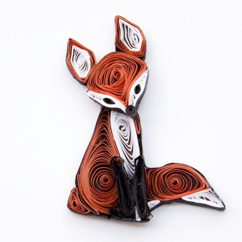 Fox Nursery Print, Fox Print, Nursery Wall Art, Wildlife Nursery, Animal Nursery Print, Children Nursery Decor, Boy Nursery Decor The fox in this wall art is entirely made of paper. Tiny strips of paper are carefully hand-rolled and glued together to create this beautiful work.