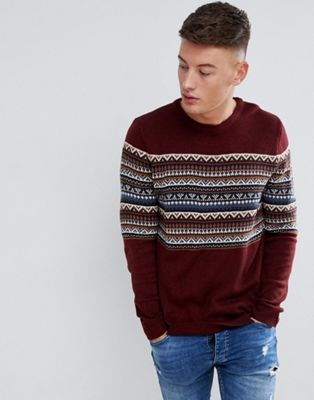 buy online best sneakers huge inventory Pull&Bear Fair Isle Sweater In Burgundy | Sweaters, Pull ...