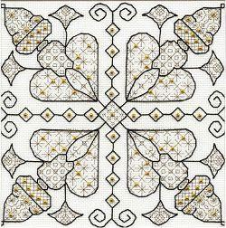 Golden Hearts Blackwork. Blackwork design from Leon Conrad.