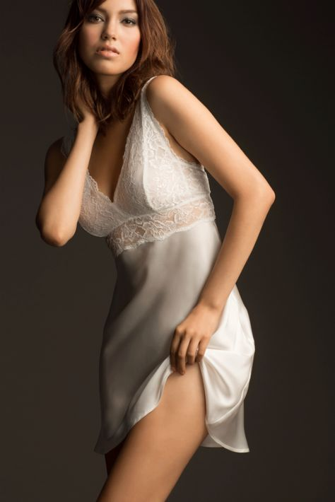 Introducing NK iMode: Silk Nightwear and Bridal Lingerie - This pretty ivory silk and lace chemise has bust shaping and support.