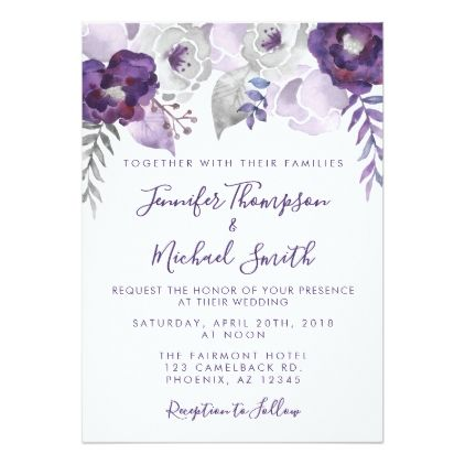 Purple And Silver Watercolor Floral Wedding Card Weddin