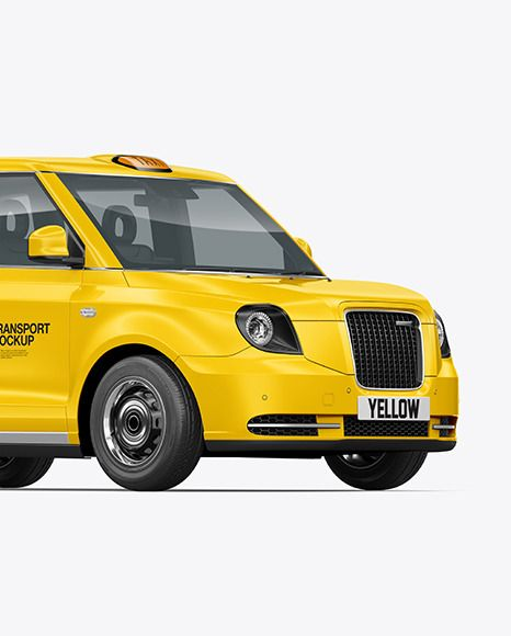 Electric Cab Mockup Half Side View In Vehicle Mockups On Yellow Images Object Mockups In 2021 Cab Mockup Side View