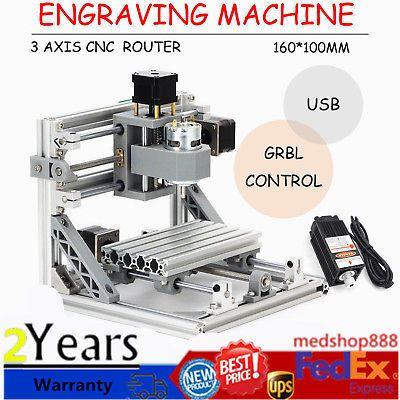 Ad Ebay Url 3 Axis Cnc Router Mini Wood Carving Machine 1610 Pcb Milling W Grbl Control Usa Cnc Wood Router Cnc Engraving Machine Cnc Router