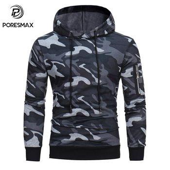 Domple Men Fashion Camo Print Drawstring Pockets Hoodie Pullover Sweatshirt
