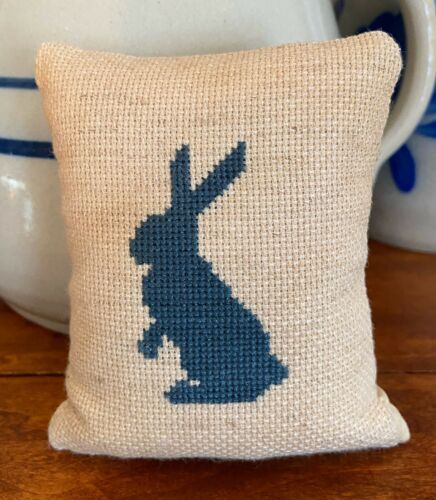 Farmhouse small throw pillow Spring decorative pincushion Completed Easter cushion Cross stitch gifts Rabbit