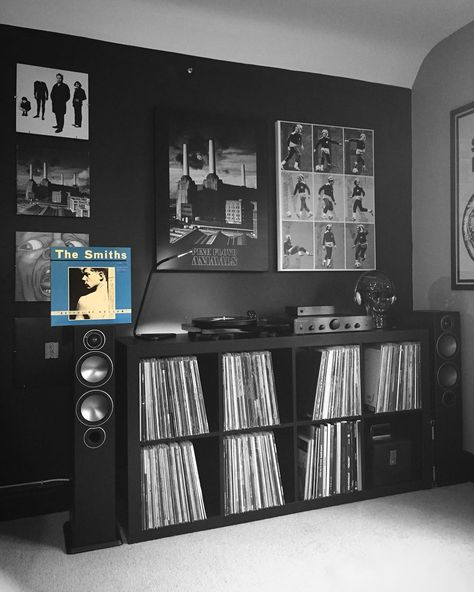 vinyl storage/record player area