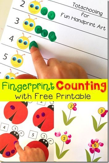 FREE printable fingerprint counting activity. This is such a fun playful kids activities to help kids practice counting in a fun, hands on educational activity. (preschool, prek, toddler, math, math activities)