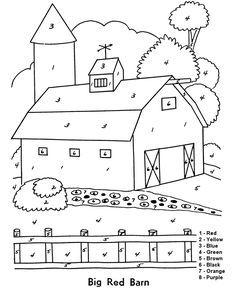 Beginner Coloring Pages For Kids Big Red Barn Color By Numbers