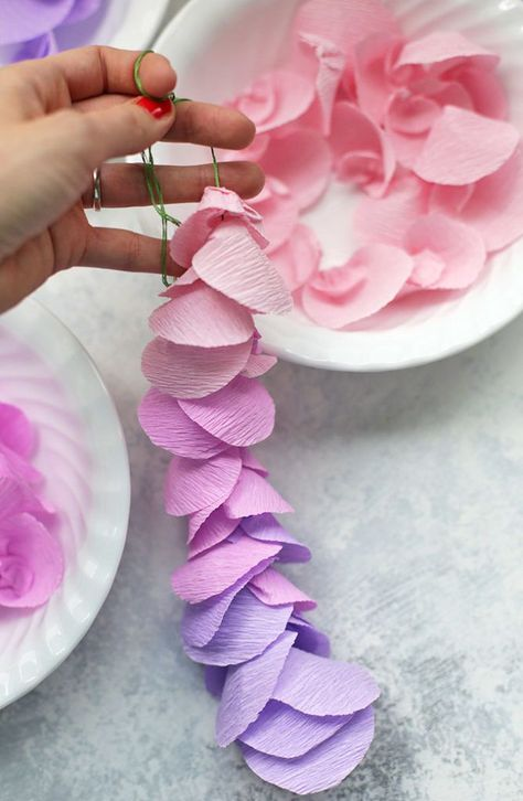 Strands of paper wisteria. Love this for a Spring decoration! | Flower Garden Party