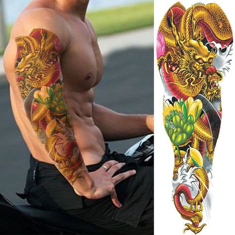 Golden Dragon Pink Flower Temporary Tattoo Sleeves Adults Fake