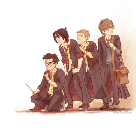 The Marauders- James is being the leader, Sirius is cracking up, Peter is trying to stick close to them, and Remus is being the lookout because he's so cautious. PERFECTION!