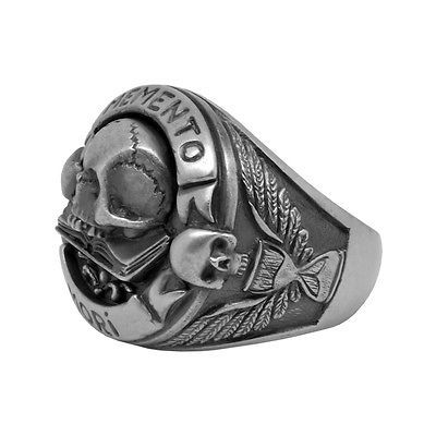 Calavera anillo Gothic Mason Memento Mori masones style Sterling plata 925