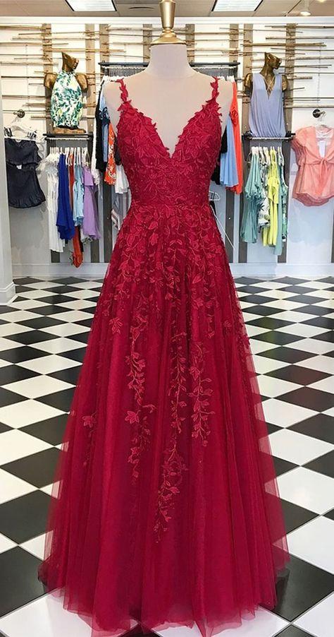 Sky Blue Lace Prom Dresses Long V Neck Rose Red Formal Dress PG810