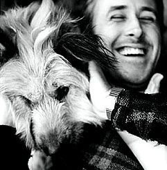 Ryan Gosling with dog, George.