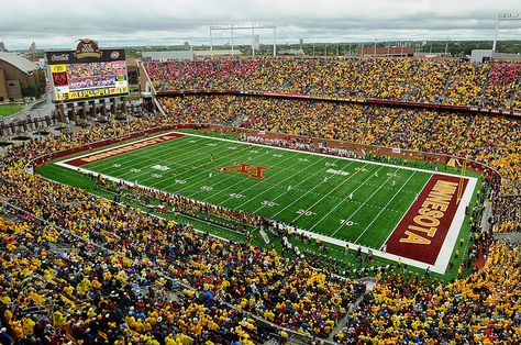 General view of the new University of Minnesota football stadium, TCF Bank. Minnesota kicks off against the Wisconsin Badgers at the start of the quarter.