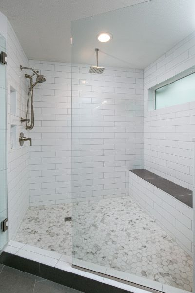 Beautiful Shower With Hexagonal Tile White 4 X 16 White Subway Tiles And And Dimensio Subway Tile Bathroom Shower Patterned Bathroom Tiles Subway Tile Showers