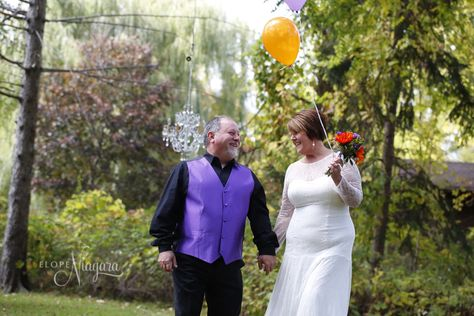 Photography props including helium balloons are all part of your package at The Little Log Wedding Chapel in Niagara