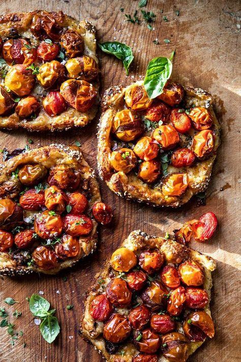 Caramelized Onion and Balsamic Tomato Tarts   halfbakedharvest.com #tomato #easyrecipes #tarts #everythingbagel #summer #summerrecipes