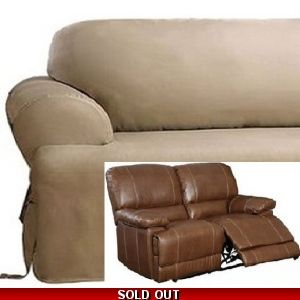 Dual Reclining Sofa Slipcover Suede Taupe Surefit Recliner Couch