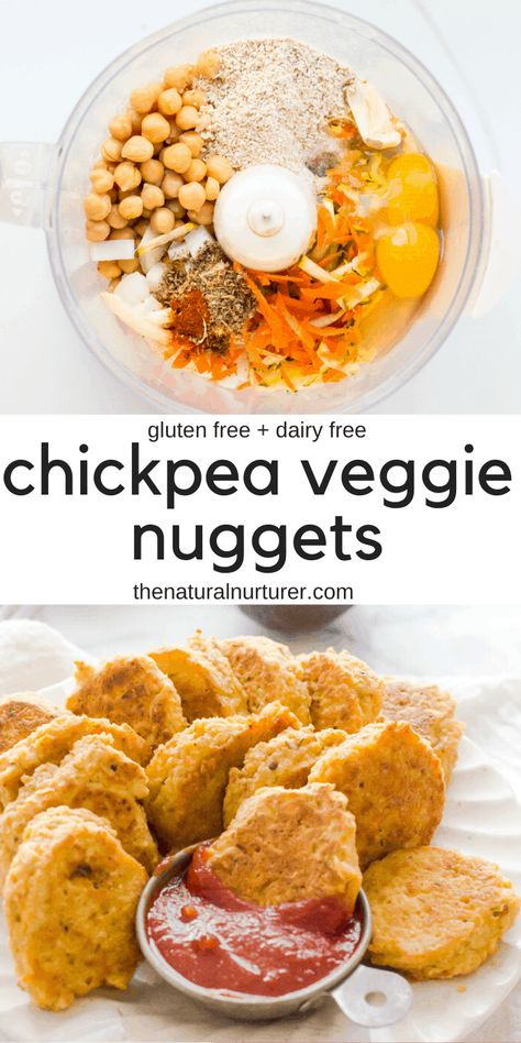 These chickpea vegetable nuggets are a vegetarian twist on traditional chicken nuggets! Loaded with extra veggies and and protein. The perfect finger food! #kidfood #toddlerfood #healthyfingerfood #vegetarianrecipesforkids #vegetariannuggets