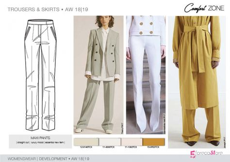 FW 208-19 Trend forecast: MAXI PANTS, straight cut, luxury mood, development designs by 5forecaStore Fashion trend forecasting.