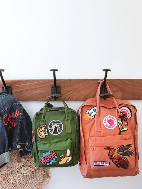 Patches backpack with pins, backpack with patches, diy backpack, kanken bac