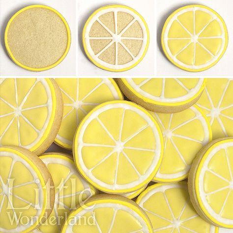 Galletas of limon / Lemon cookies Summer Cookies, Fancy Cookies, Iced Cookies, Cute Cookies, Cookies Et Biscuits, Cupcake Cookies, Flower Cookies, Cookie Bouquet, Cookie Favors