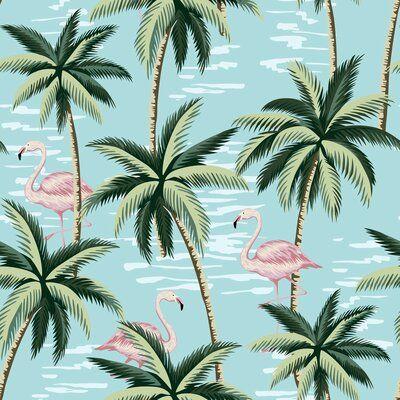 Bay Isle Home Tropical Flamingos 10 L X 24 W Peel And Stick Wallpaper Roll Wayfair Ca Jungle Wallpaper Flamingo Wallpaper Palm Trees Wallpaper