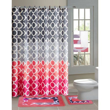 Home Pink Shower Curtains Pink Bathroom Accessories Bathroom Accessories Sets