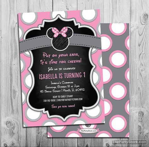 Minnie Mouse Birthday Invitations. Printable Chalkboard Style Girls Birthday Party Invite. Invitation is 5 x 7 and comes with a Free backside. YOU