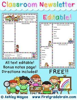 Newsletter Template Editable Freebie  ParentTeacher