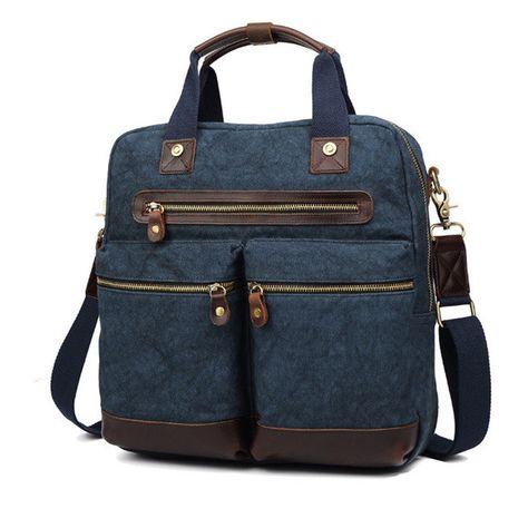 ac0df16c67 Ekphero Men Vintage Genuine Leather Canvas Crossbody Bag Travel Bag ...