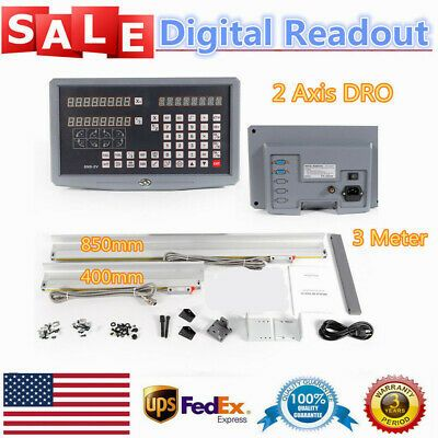 2 Axis Digital Readout DRO For Milling Lathe Machine Precision Linear Scales